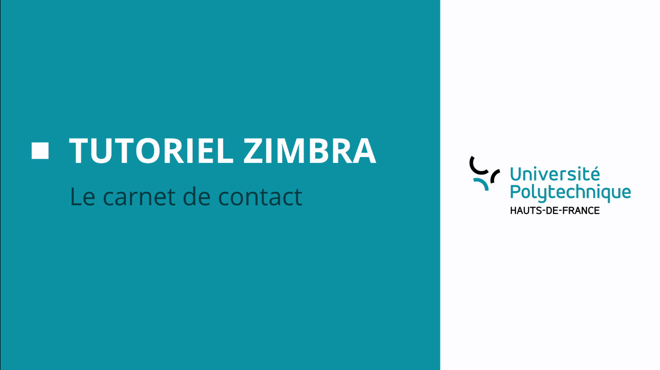 Tutoriel Zimbra: Le carnet de contact